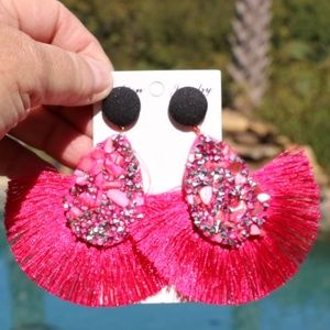 NEW Large Boho Earrings Stone Fan Tassel Post Pink